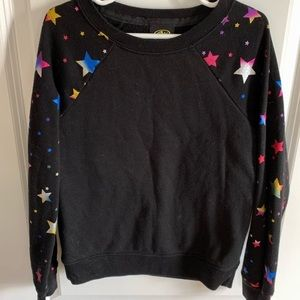 Athletic Works Black Sweatshirt with Colorful Stars Design on Sleeves (6/6X)